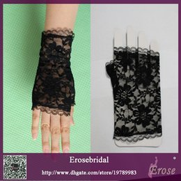 Wholesale Cheap Bridal Gloves Short Black Lace Bridal Accessories