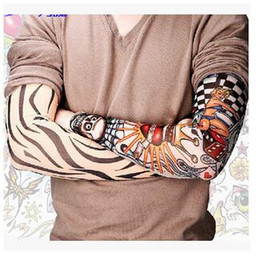 Wholesale High Quality Nylon Elastic Fake Tattoo Sleeves Designs Anti UV Arm Stockings Tattoo Wears Fishing Driving Sleeves Unisex Up to TOP1059