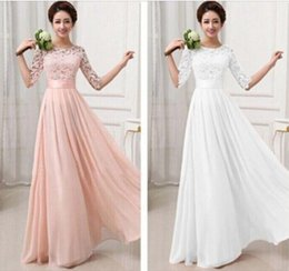 Wholesale 2015 New Vestidos De Fiesta Tulle Lace Chiffon Long Wedding Party Dresses For Women Elegant Junior Bridesmaid Formal Prom Dress with Sleeves