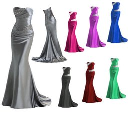 Wholesale Graceful Cheap Evening Dresses Mermaid Strapless Long Sequin Bridesmaid Prom Party Dresses Stock Size6