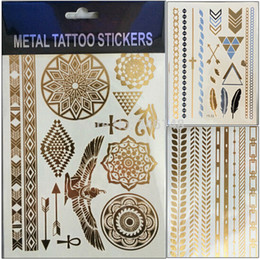 Wholesale MIXED lotgold foil tatoo temporary golden tatto decal women men body art wings bird feather temp metallic tattoo stickers