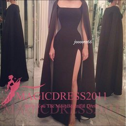 Wholesale 2016 Gorgeous Black Sonam Kapoor Full Sleeves Indian Style Scoop Sheath Sexy Evening Dresses Vestido De Festa Evening Gown Custom Made