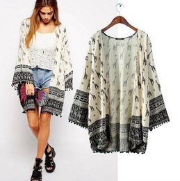Wholesale Dears Print Lace Frilled Cardigans Cape Summer Loose Poncho Kimonos Western Fashion Tops