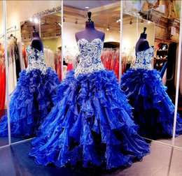 Wholesale Chic Beaded Crystals Quinceanera Dresses Sweetheart Neckline Lace up Back Ruffled Blue Prom Ball Gowns Organza Rhinestones Debutante Dress