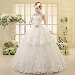 Wholesale 2015 Crystal Bridal Gown High Collar Applique Beaded Ball Gown Lace Up Short Sleeve Wedding Dresses Bride Vestidos Spring Garden Church