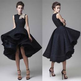 Wholesale Krikor Jabotian Prom Dresses Hand Made Flower Jewel Neck Dark Navy Evening Dress Knee Length Party Gown Sleeveless Ball gown Formal Dress mz