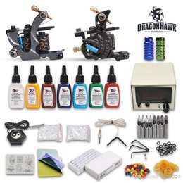 Wholesale Complete Tattoo Kits Guns Machines Colors Ink Sets Pieces Disposable Needle LED Power Supply HTB014DH Beginner USA