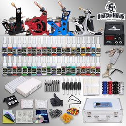 Wholesale Complete Tattoo Kits Guns Machines Colors Ink Sets Bottle Pieces Disposable Needles Power Supply Tips Grips HW GD