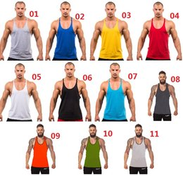 Wholesale Cotton Stringer Bodybuilding Equipment Fitness Gym Tank Top shirt Solid Singlet Y Back Sport clothes Vest