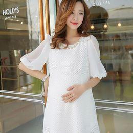 Wholesale Beauty FashionSummer White Pregnant Women Chiffon Casual Dress Maternity Clothes