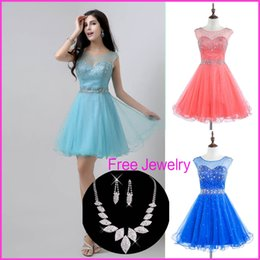 Wholesale Free Jewelry Cheap Crystal Graduation Dresses Sexy Sheer Neck Beads Backless Tulle Royal Blue Coral Homecoming Prom Gowns Real Image
