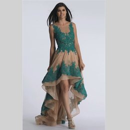 Wholesale 2016 V neck Lace Evening Dresses A line Tulle Hi Lo Floor Length Evening Gowns Vintage Elegant Formal Party Dresses