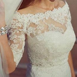 Wholesale 2016 Best Lace Off Shoulder Alencon Bolero Jacket Illusion Long Sleeve Jackets Bridal Shrug Bride Wraps Wedding accessories Shawl CPA374
