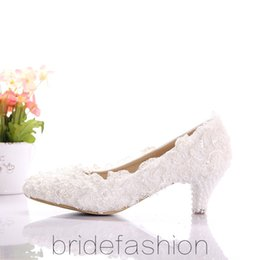 Discount White Wedding Short Heel Shoes | 2017 White Wedding Short ...