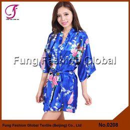 Wholesale 0208 Ladies Top Sales Stock Available Plus Size S M L XL XXL Colors Peacock Floral Print Short Satin Robe