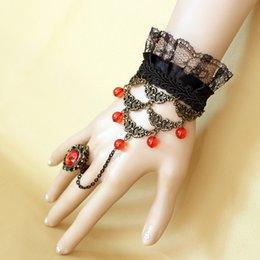 Wholesale 2015 elegant in stock wedding bridal party prom jewelry lace rhinestones diamonds retro bracelet with ring XY1033