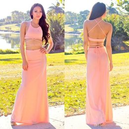 Wholesale New design Sexy Two pieces Sheath Party Dresses Halter Backless Floor length Custom made Chiffon Fashion Cheap Simple Prom Evening Gowns