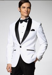 Wholesale One Button White Jacket Black Pants Lapel Suits Thankgod Custom Made Wedding Dresses Groom Tuxedos Piece Set Jacket Pants Bowtie