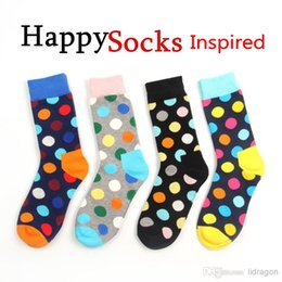 Wholesale Happy socks style fashion high quality men s polka dot socks men s casual cotton socks colors pairs