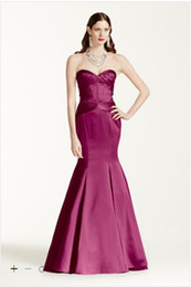Wholesale Vintage Designer Occasion Trumpet sweetheart Long Satin Fit and Flare Dress features corset seam detailing ZP285036 Bridesmaid Dresses