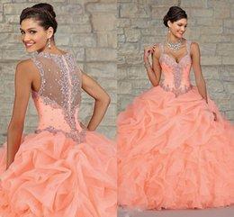 Wholesale Stunning Peach Organza Ball Gown Quinceanera Dresses Sheer Beads Cheap Fashion Princess Dress