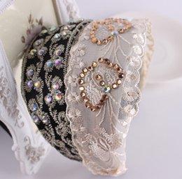 Wholesale Women wide hair band jewelry Lace Flower Hair Band Girls Rhinestone Hair Bands headbands flower crown headband hair accessories for women mm