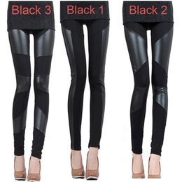 Wholesale Autumn and Winter Sexy Slim Stitching PU Leather Leggings for Women Splicing splice Wide Stretchy Elastic Waist Trousers Pants G0653