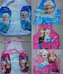 Wholesale Frozen Printed Kids Children Cartoon Cooking Art ELSA ANNA Painting Smock Apron Set Sleeveless Pink BLUE BO6912
