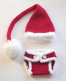 2017 newborn crochet hats diaper covers Wholesale-Free shipping Crochet Santa Hat Diaper cover set, baby Santa Set skirt newborn photo prop cheap newborn crochet hats diaper covers