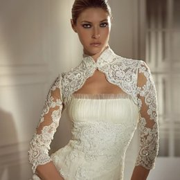 Wholesale Lace Appliques Long Sleeve Wedding Jackets Hot New Arrival Fast Delivery Beaded High Neck Bridal Wraps Jacket Bolero For Beauty Bridal Dress