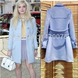 online shopping New Winter Coat Women European Fashion Wool Coat Good Quality Women s Light Blue Woollen Long Coat Plus Size Overcoat F100