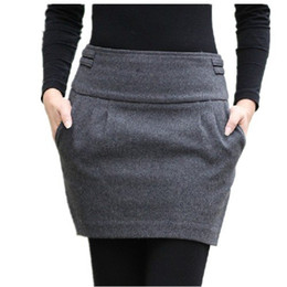 Wholesale 2016 Autumn And Winter Skirt Women Fashion Brand Design Plus Size Wool Slim Hip Bud Pocket With Zipper Short Mini Woolen Skirts