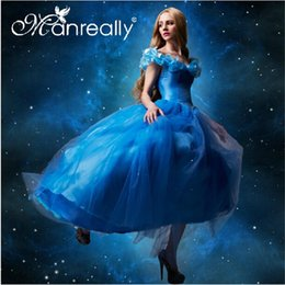 Wholesale 2015 Adult Womens cinderella blue princess party dress for womens prom dress costume cosplay Ball party wedding dress GD57
