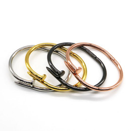 Fashion New Three colour 18k gold Rose Gold Bracelet 316L stainless steel Nail Cuff bangle bracelet with screwdriver