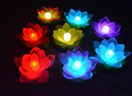 Wholesale 1000pcs New Arrive LED Lotus Lamp in Colorful Changed Floating Water Pool Wishing Light Lamps Lanterns for Party Decoration