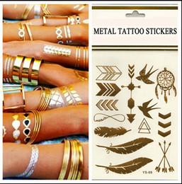 Wholesale Tattoo stickers gold foil tatoo temporary golden tatto decal women men body art bird feather temp metallic tattoo stickers NO A