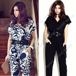 Wholesale Women Ladies Elegant Short Sleeve V neck Exotic Jumpsuit rompers Pants Shirts Playsuit With Waistband
