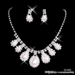 Wholesale 2014 Christmas Gift Retro Elegant Jewelry Wedding Bridal pearl Rhinestone necklace earring Set Gold plated alloy metal