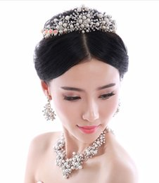 Wholesale 2015 New Pearls Bridal Jewelry Crown Necklace and Earring Sets With Gift Box Evening Bridal Accessories Jewelry