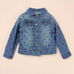 Wholesale Baby Boy Coat Spring Autumn Kids Outerwear Cowboy Jacket Children Costume Outfits Jeans Coat Outwear Blue Clothes Star Fashion Cool