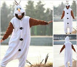 Wholesale Hot Sale New Anime Cosplay Frozen Olaf Snowman Cos Pajamas Adult Women Men Unisex Onesie Party Costumes Halloween Dresses