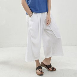 Plus size white linen crop pants