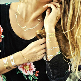 Wholesale gold and silver foil temporary tattoo Waterproof Jewelry Temporary Metallic Flash Tattoos