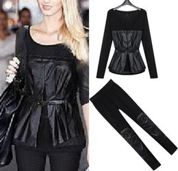 Wholesale Women Black PU leather Crop Tops With Elastic Pants Trousers Leggings Female Business Work Wear Suits Pieces Clothing fashion