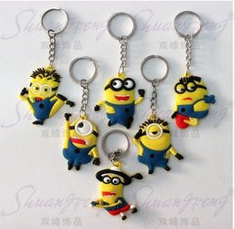 Wholesale 2015 popular despicable me keychain keyring decoration silicone minion key chain for men women Despicable Me Minion key chain doll gift