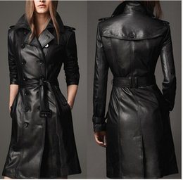 Discount Long Leather Trench Coats For Women | 2017 Long Leather