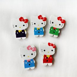 Wholesale Hello Kitty Cat button cashmere wool vest Ma Jiamu button Kitty painted wooden buttons scrapbooking sewing accessories craft
