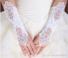 Wholesale 2014 Pageant Dresses for Girls _ Buy Hot Ivory White Bridal Lace Flower Gloves Diamond Bud Silk Embroidery Wedding Jewelry Fingerless WH30
