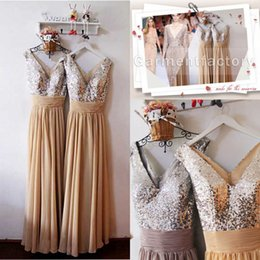 Wholesale long bridesmaids dresses under v neck a line floor length silver sequins bodice champagne chiffon bridesmaid dresses for cheap in stock