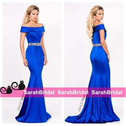 Wholesale 2016 Royal Blue Prom Pageant Dresses with Embroidered Rhinestone Belt Waist and Long Full Floor Length Fit Skirt Wedding Evening Gowns Wear